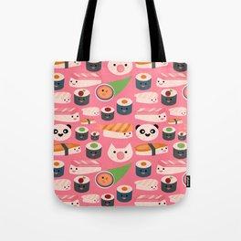Kawaii sushi hot pink Tote Bag