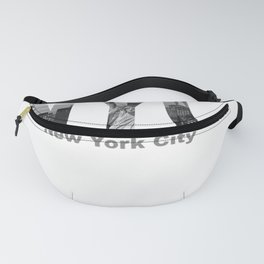 New York City Skyline Black and White Cutout Casual Pullover Hoodie Fanny Pack