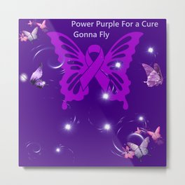 Power Purple For a Cure - Gonna Fly Metal Print