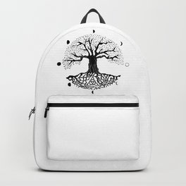 black and white tree of life with moon phases and celtic trinity knot II Backpack