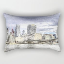 City of London and River Thames Snow Art Rectangular Pillow