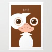 gizmo Art Prints featuring Gizmo by La Fabrique de Posters