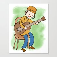 neutral milk hotel Canvas Prints featuring Jeff Mangum of Neutral Milk Hotel by Missy Kulik