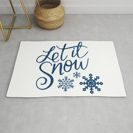 Let It Snow Blue Glitter (Color) Rug