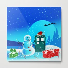 Tardis With Snow Ball Gift Christmas Metal Print