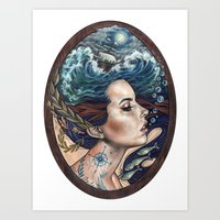 lost Art Prints featuring Lost At Sea by Wendy Ortiz