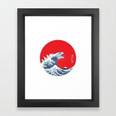 Hokusai kaiju Framed Art Print