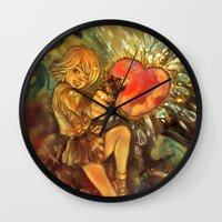 mandie manzano Wall Clocks featuring Straight to Your Heart! by Enrico Guarnieri 'Ico-dY'