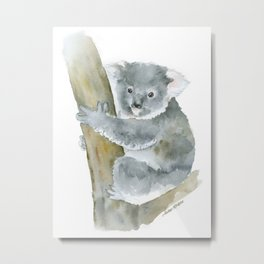Koala Watercolor Painting Metal Print