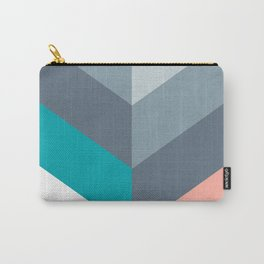 Vertical Chevron Pattern - Teal, Coral and Dusty Blues #geometry #minimalart #society6 Carry-All Pouch