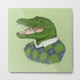 Argyle Crocodile Metal Print