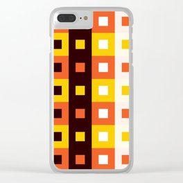 Geometric Pattern #74 (orange stripes squares) Clear iPhone Case