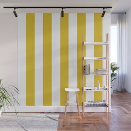 Durian Yellow - solid color - white vertical lines pattern Wall Mural