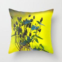 Still Beautiful - Flower Silhouette On a Green Background #decor #society6 #buyart Throw Pillow