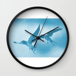 Barn swallows in flight Wall Clock