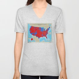 United States Presidential Election, results by county, November 6, 2008 Unisex V-Neck