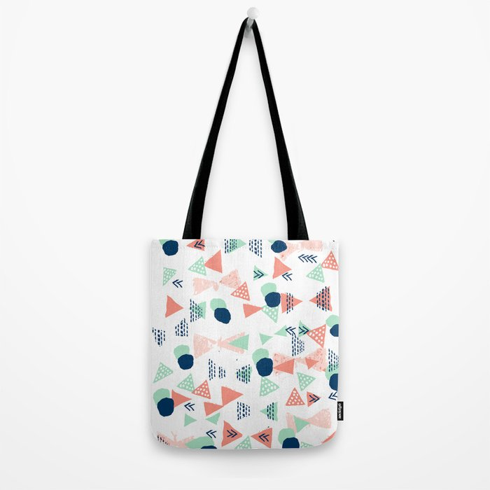 Navy painted shapes polka dots minimal basic decor mint peach and blue pattern Tote Bag