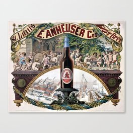 Vintage 1879 St. Louis Anheuser Brewing Lithograph Wall Art Canvas Print