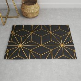 black gold geometrical Rug