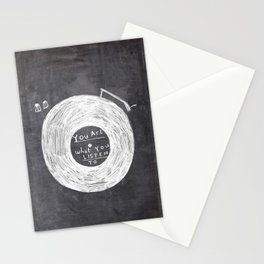 you are what you listen to, BLACK Stationery Cards