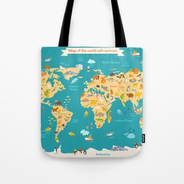 Animal map for kid. World vector poster Tote Bag