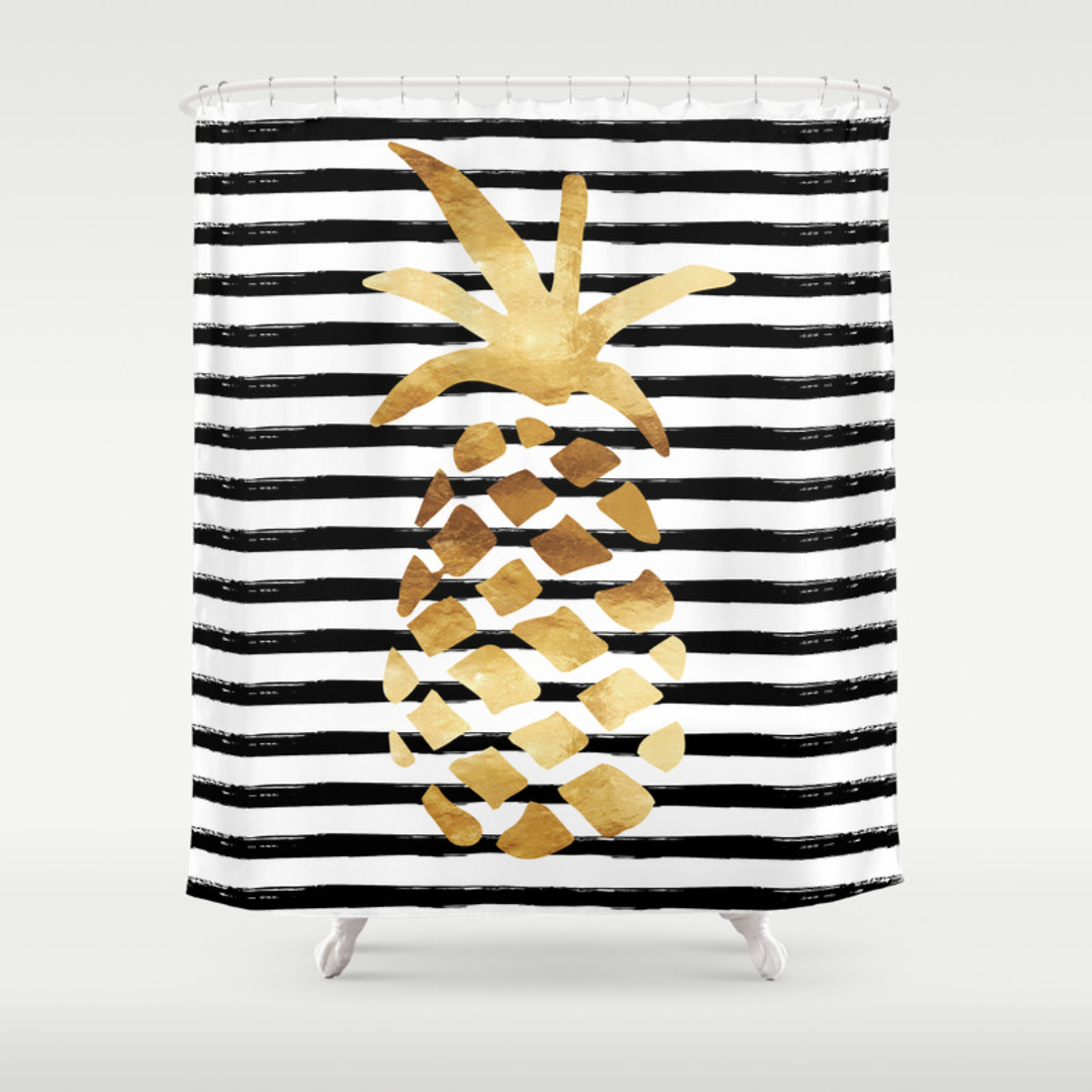 Graphic design shower curtains society6 for Black and white striped bathroom accessories