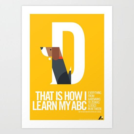 Animal Alphabet D Art Print
