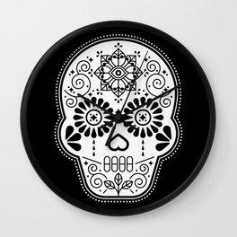 Día de Muertos Calavera • Mexican Sugar Skull – White on Black Palette Wall Clock