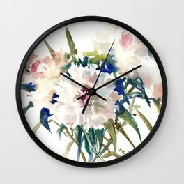 White Peonies, Asian Watercolor design Garden Peonies White lofral art Wall Clock