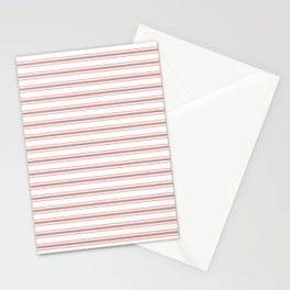 Large Camellia Pink and White Mattress Ticking Stripes Stationery Cards