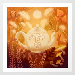 Triskel Teapot and Woodland Animals Art Print