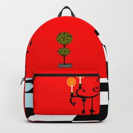A Chandler with Topiary with Red wall paper Backpack