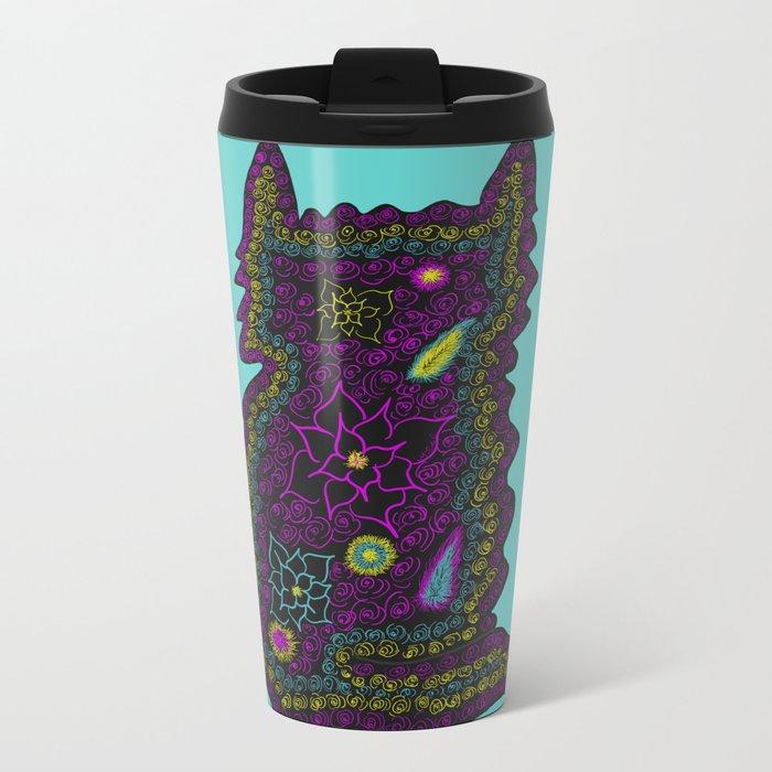 Black Cat With Roses Metal Travel Mug