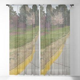 A Stroll Down the Street Sheer Curtain