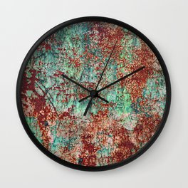 Abstract Rust on Turquoise Painting Wall Clock