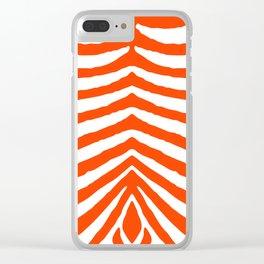 Fluorescent Orange Neon and White Zebra Stripe Clear iPhone Case