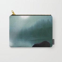 Stepping Into The Moonlight - Black Bear and Moonlit Lake Carry-All Pouch