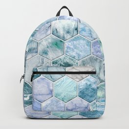 Ice Blue and Jade Stone and Marble Hexagon Tiles Backpack