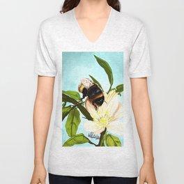 Bee on flower 4 Unisex V-Neck
