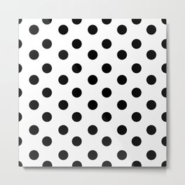 White & Black Polka Dots Metal Print