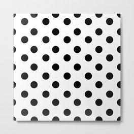 White & Black Polka Dots Metal Print
