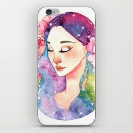 Unearthly supernatural girl with space in the hair. Virgo constellation. iPhone Skin