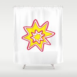POW! - yellow, red, white Shower Curtain