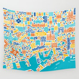 Vianina Barcelona City Map Poster Wall Tapestry
