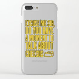 Funny Jesus Cheesus Sarcasm Sarcastic Cheese Lover Clear iPhone Case