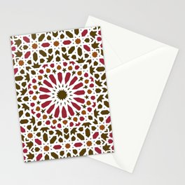 -A1- Red Traditional Moroccan Zellij Artwork. Stationery Cards