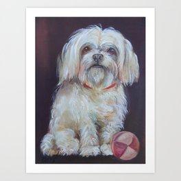 BICHON Cute white dog portrait Oil painting Pet portrait Art Print