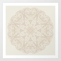 Beige Mandala  Art Print