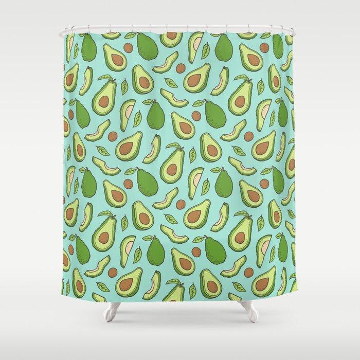 Avocado On Mint Green Shower Curtain