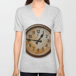 Old wall clock Unisex V-Neck